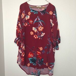 Umgee red floral 3/4 sleeve blouse boho